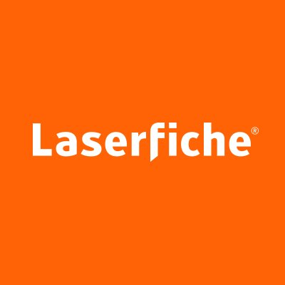 Laserfiche Logo - orange square with white writting